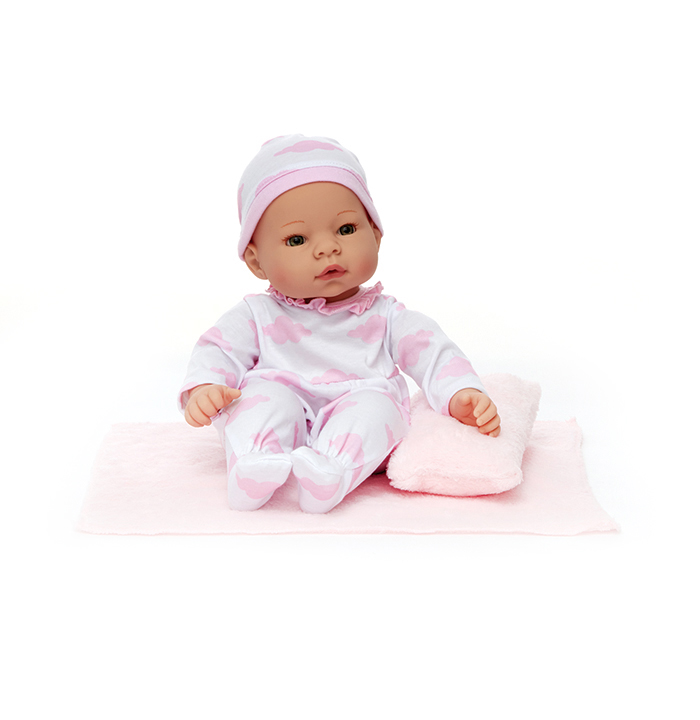 NewbornNurseyPinkClouds light skin doll
