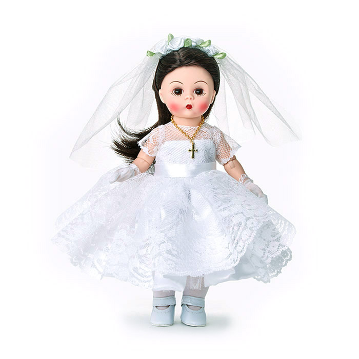 First Communion Doll with Light Skin Tone and Brunette Hair